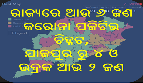 ରାଜ୍ୟରେ ଆଉ ୬ ଜଣ କରୋନା ପଜିଟିଭ ଚିହ୍ନଟ - ଯାଜପୁରରୁ ୪ ଓ ଭଦ୍ରକରୁ ୨ ଜଣ, Nitidina, Odisha, News, Real Story, Health Tips, Life style, Daily Living, Tips, Job Updates, Yoga, Meditation, Stay Healthy, Lockdown may extend after 3 may, lockdown extend